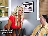 Curly blonde GILF gets fucked on a leather couch