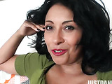 raven haired mature enjoys playing with her slit in during alone time