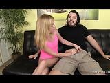 Pink top and panties blonde teen jerking off his massive cock