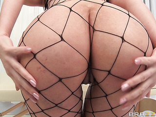 blonde milf black fishnet