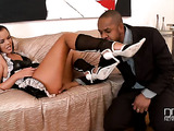 Tanned and exotic brunette maid lets her black employer cum on her soles