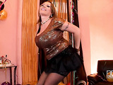 Tiny skirt and black stockings blonde fatty celebrating and stripping