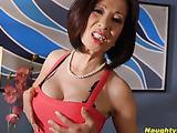 Black lingerie Asian brunette gets fucked in the ass