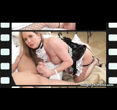Fishnets-wearing blonde in a maid outfit jerks off a big-dicked stud