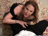 Black dress MILF sucking a dude's cock with a facial in the end