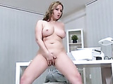 Striped grey top blonde masturbating at the office