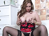 Stockings clad brunette shows off her hairy pussy and thick ass