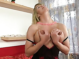 stockings-clad blonde with necklace