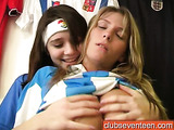 Soccer get-up teen girlfriends fucking each other's pussies with toys
