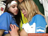 Argentina-loving blonde fingering and dildo-fucking her GF's pussy