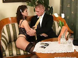 Black panties wavy-haired brunette gets fucked from behind on a couch