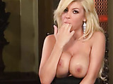 Tight black dress blonde fingering her pussy on camera