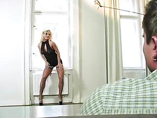 teasing young blonde wearing