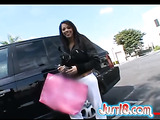 Rich brunette wearing sunglasses and black jacket gets picked up in the parking lot and brought to the office for dangerous sex