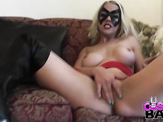 some superhero-looking blonde tight