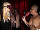 Masked blonde demands some feet worship form her caged slave