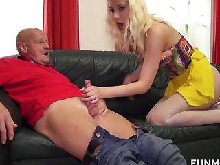 yellow skirt blonde jerking
