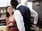 High-heeled whitey banged by a black dick