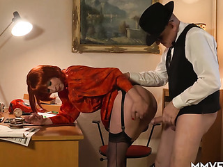 redhead stockings fucks with