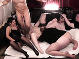 MILFs sex dolls are blowing massive sausages on the party