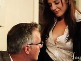MILF gets a huge cumshot on her massive boobs
