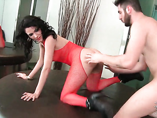 brunette red bodystocking banged