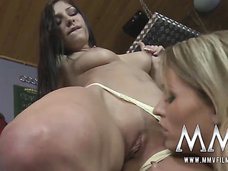 blonde licks shaved pussy
