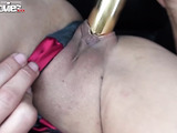 POV dildo-fucking from a mature lady in red panties