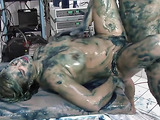 Sex in dirty blue slime with a busty golden blondie