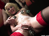 Bald master humiliates and tortures a curly blondie