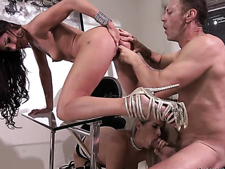 blonde anal threesome stockings