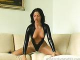 Brunette Susi poses in nylon