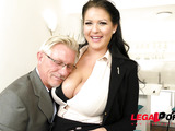 Old dude loves a Hungarian's huge knockers