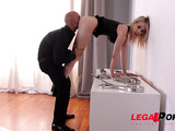 Challenging bondage for a submissive blonde