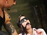Tattooed slim chick gets captured and drilled hard in dungeon