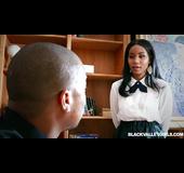 Ebony school girl gets boyfriend's white meat