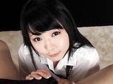 Japanese school girl polishing her teacher's schlong with hands