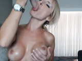 Big tits gorgeous hottie plays with dildo