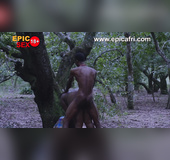 Ebony african female deep throated with big cock