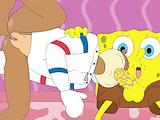 SpongeBob's raunchy squirrel slut goes down on him