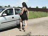 Valeria pisses on the road!