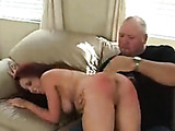 Leg spread hot horny spanking of delicious babe with fantastic red ass