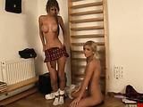 Blonde schoolgirls get bound