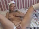 Sexy student spreads her legs wide