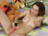 Teenage girl and her pink dildo