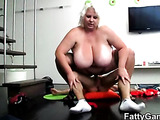 BBW body jiggles as he fucks her