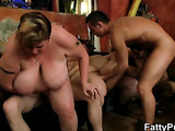 Fat girl on her knees for good sex