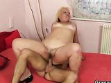 Granny blonde banged big young dick