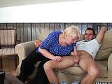 Cumshot on the granny slut