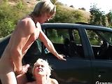 Sexy dick plunging into granny slut